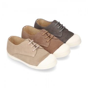 New kids suede leather Tennis type shoes with TOE CAP.