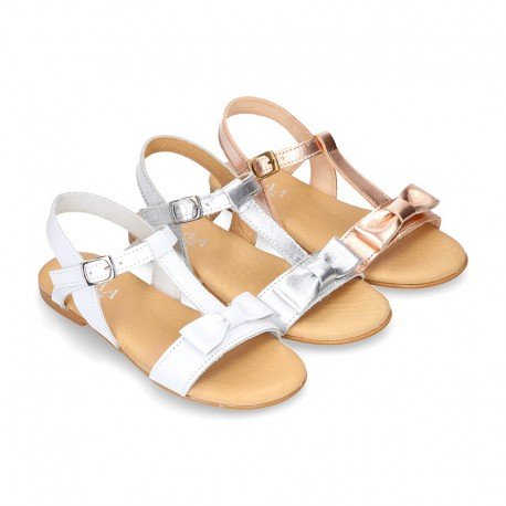 Cowhide Leather Sandal shoes with big BOW for toddler girls.