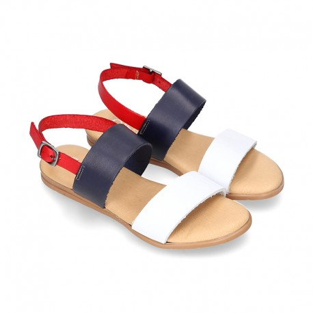 Leather sandal shoes in three colors.