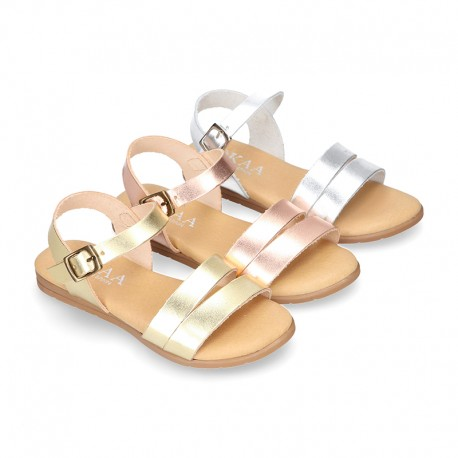 Metal finish leather sandal shoes with buckle fastening.