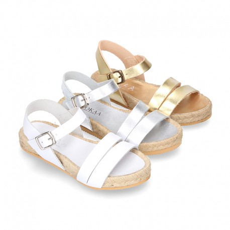 New Sandals espadrille style with parallels straps.