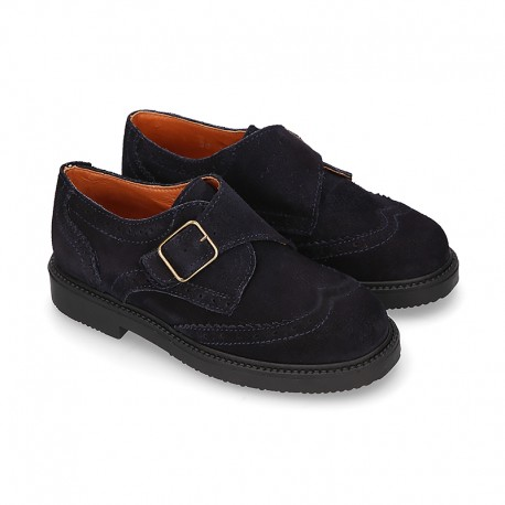 New Suede leather School Oxford shoes with buckle fastening for kids.