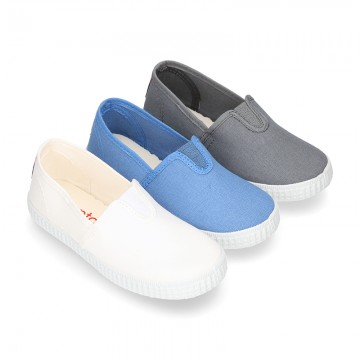Cotton canvas Bamba type shoes with elastic band.