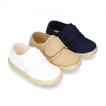 Cotton canvas kids sneaker espadrille shoes laceless.