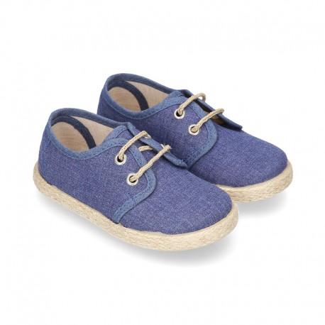 JEANS cotton canvas Laces up shoes espadrilles style.