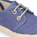 JEANS cotton canvas Laces up shoes espadrilles style.