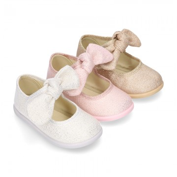 METAL canvas Little Mary Janes with hook and loop strap closure and bow for girls.