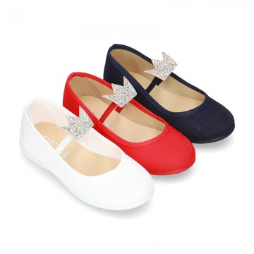 Cotton canvas to dress Ballet flat shoes with CROWN design.