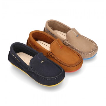 Nobuck leather Moccasin shoes for little kids with contrast driver type soles.