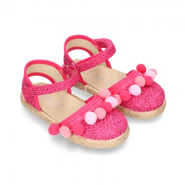 Little girl cotton canvas espadrilles with hook and loop strap and POMPOMS design.