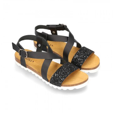 Nappa Leather sandal shoes combined with BLACK glitter and white soles.