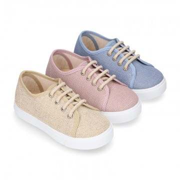 LINEN canvas tennis shoes to dress for kids with shoelaces closure.