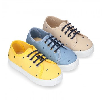 FANTASY COTTON canvas tennis shoes to dress for kids with shoelaces closure.