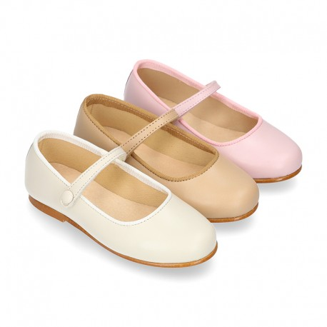 Nappa leather classic Mary Jane shoes with hook and loop strap and button.