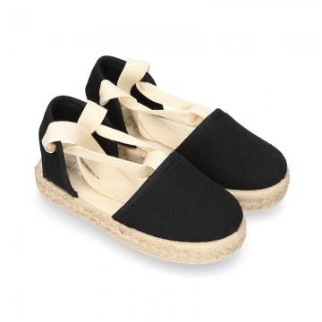 BLACK Cotton Canvas Girl Valenciana style espadrille shoes.