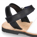 Leather kids Menorquina sandals with ANCHOR design and hook and loop strap.