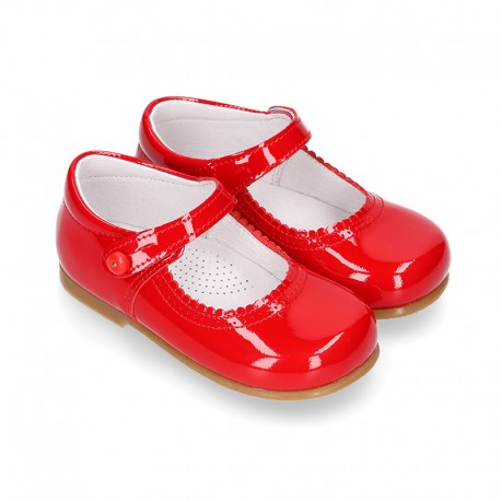 Halter little Mary Jane shoes in RED patent leather.