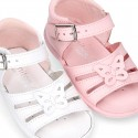 Washable leather sandal shoes with butterfly detail and FLEXIBLE soles.