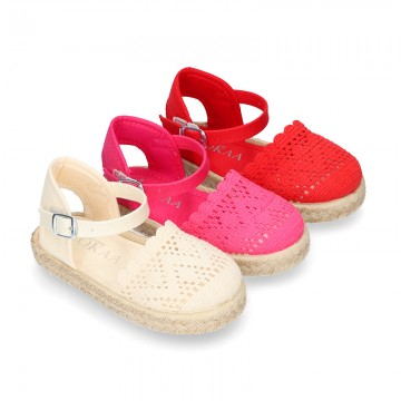 Little Girl Canvas espadrille shoes with color LACES design.