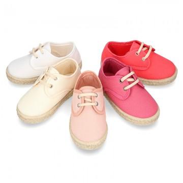 Kids Cotton canvas LACES UP shoes Espadrille style design.