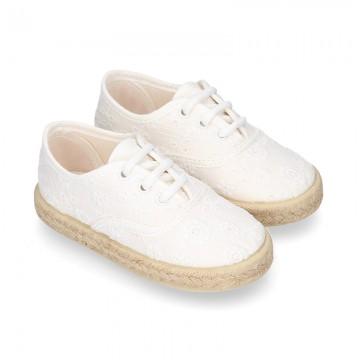 Kids MAHON design Cotton canvas laces up shoes Espadrille style design.