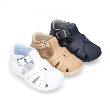 Little Washable leather sandals with toe cap and SUPER FLEXIBLE soles.