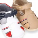 Combined Washable leather sandals with hook and loop strap.