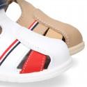 Sandalia Niño peque combinada en piel lavable con cierre adherente y suela SUPER FLEXIBLE.