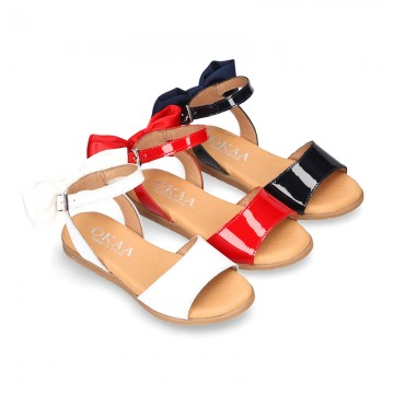 Patent Leather Sandal shoes with back big BOW design for toddler girls.