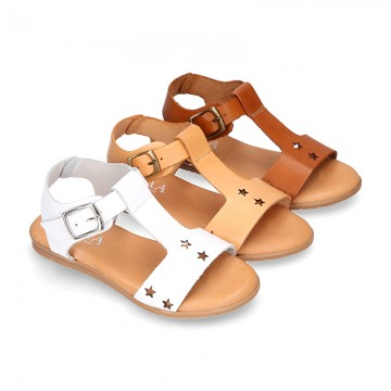 T-Strap Leather Sandal shoes with STARS design for toddler girls.