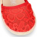 RED Lace canvas Baby espadrille shoes.