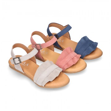 Suede Leather Sandal shoes with Waves design for toddler girls.