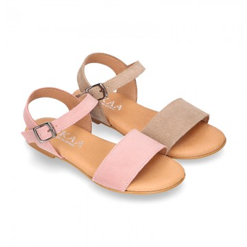 Basic girl Suede Leather Sandal shoes with buckle fastening.
