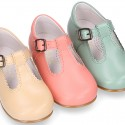 Kids T-Strap shoes with buckle fastening in soft nappa leather in seasonal colors.