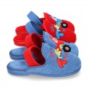 CARS print Terry cloth Home shoes with elastic strap.