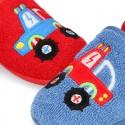 Zapatilla casa niños COCHES con elástico en toalla.