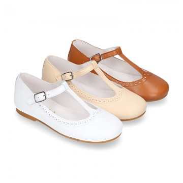 Girl T-Strap Mary Jane shoes in SOFT nappa leather in seasonal colors.