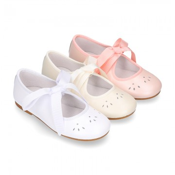 Girl PEARL nappa leather little Mary Jane shoes angel style.