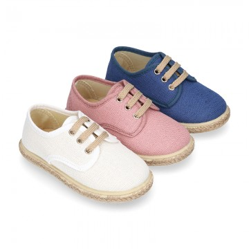 LINEN canvas kids Bamba type espadrille shoes with laces.