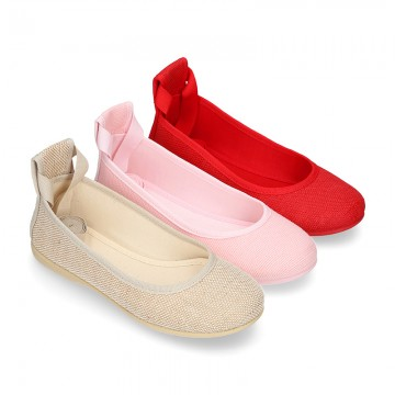 LINEN Canvas ballet flat shoes dancer style.