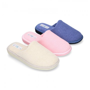 Terry cloth Home shoes with open heel design.