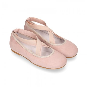SOFT SUEDE leather Girl Ballet flat shoes dancer style with elastic bands.
