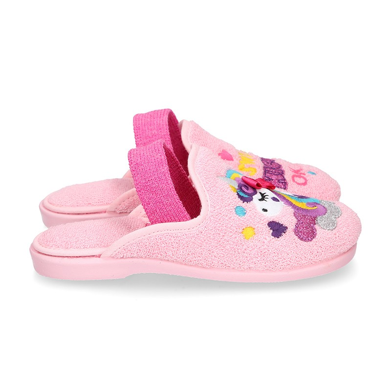 UNICORNS print Terry cloth Home shoes with elastic strap.
