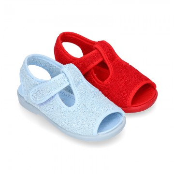 Terry cloth kids Home shoes T-STRAP style with hook and loop strap.