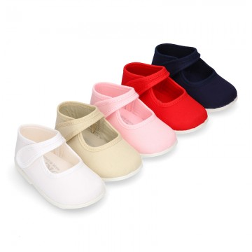 Cotton canvas little Mary Jane shoes with hook and loop closure for babies.