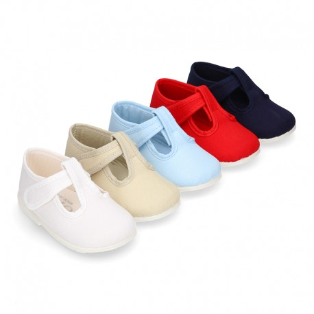 Cotton canvas little T-Strap shoes with hook and loop closure for babies.