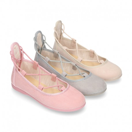 Spring summer canvas Ballet flats dancer style with crossed ribbons.