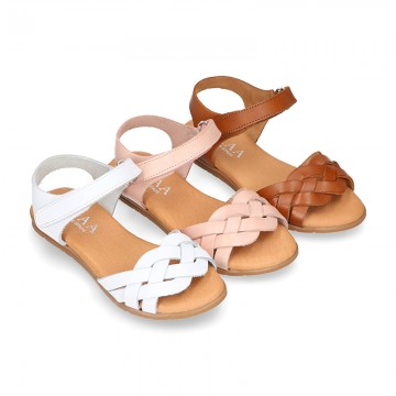 Nappa leather Braided sandal shoes for girls with hook and loop closure.
