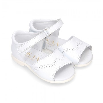 WHITE Nappa leather girl Sandal shoes with hook and loop closure.