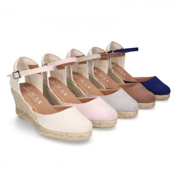 Women Wedge soft cotton canvas sandal espadrille shoes.